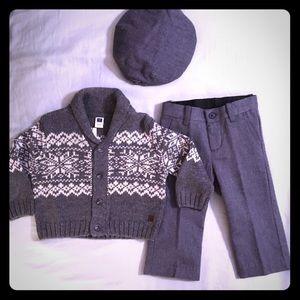 Janie & Jack Matching Sweater, Pants, and Hat Set